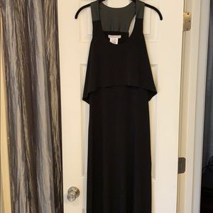 Long dress overlay top faux leather sleeveless
